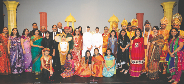 Participants, attendees and organizers on Saturday, January 11, at the Cullen Auditorium of the University of Houston when the Jain Vishwa Bharati Preksha Meditation Center of Houston unveiled its latest stage production, Raja Harishchandra.  Photo: Biyani Photography
