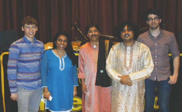 From left: Jake Levens, Varsha Vakil, Pandit Shantilal Shah, Shri Indrajit Banerjee and Ian Wells.