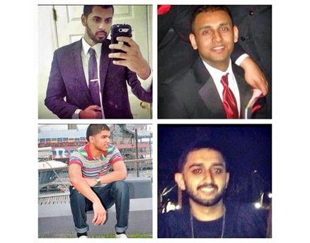 Dammie Yesudhas (top left), Jobin Kuriakose (top right), Imtiyaz (Jim) Ilias (bottom left), and Ankeet Patel of Sigma Beta Rho died in Florida after a SUV crashed into their Hyundai Sonata. (Facebook photos)