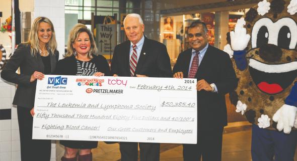 From left: Misty Hughes, Rachele Ferraro, Mayor James Thompson, and Brij Agrawal.