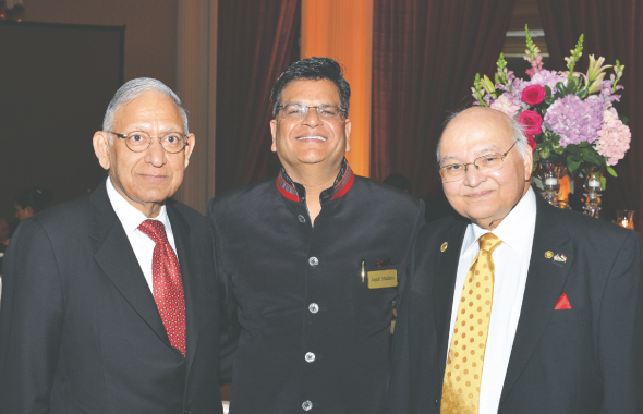 India House President Jugal Malani (center) with trustees Dr. Durga Agarwal (left) and Dr. Virendra Mathur (right).            Photo: Bijay Dixit