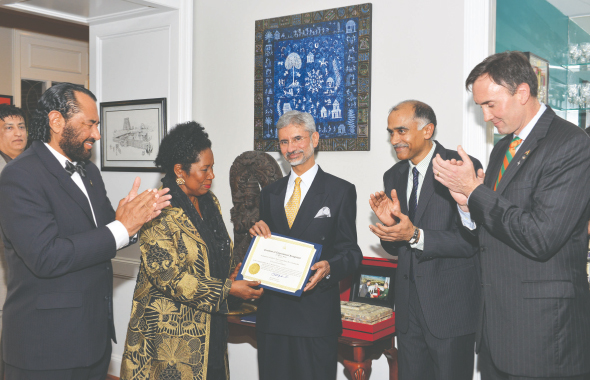 From left: Rep. Al Green (D-TX 9th District), Rep. Sheila Jackson Lee (D-TX 18th District), Ambassador Dr. S. Jaishankar, Consul General P. Harish  and Rep. Pete Olson (R-TX 22nd District) after dinner at the Harish residence on February 1.