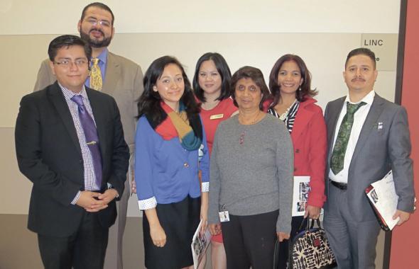 College Career Day speakers, from left : Cesar Espinosa, Waleed Elostaz, Karen Abrego, Thuylieu Aligo, Kiran Bhatia, Lizzette Diaz, and Roland Gramajo.