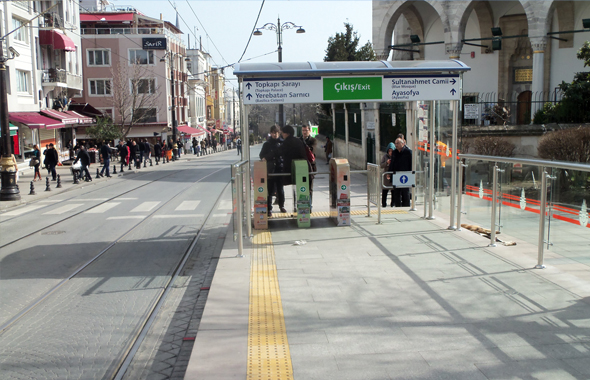 The entry turnstile at a tram station