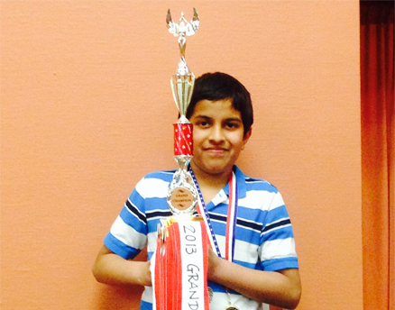 Aditya Sriram with his trophy.