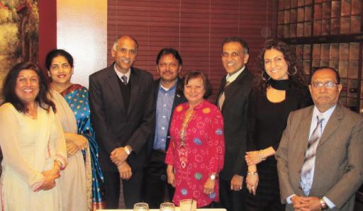 From left: Falguni Gandhi, Nandita Harish, Consul General P. Harish, Charlie Patel, Meera Kapur, Swapan Dhairyawan, Jasmeeta Singh, and Harshad Patel. (Not in pic PV Patel).