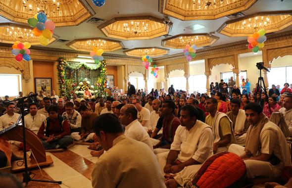 Devotees listening to Gaura katha (pasttimes of Lord Chaitanya Mahaprabhu)