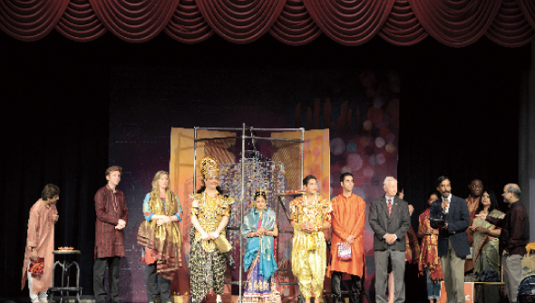 The cast of HGO with Pearland Mayor Tom Reid; MTS chair  Dr. Vaduganathan providing vote of Thanks.