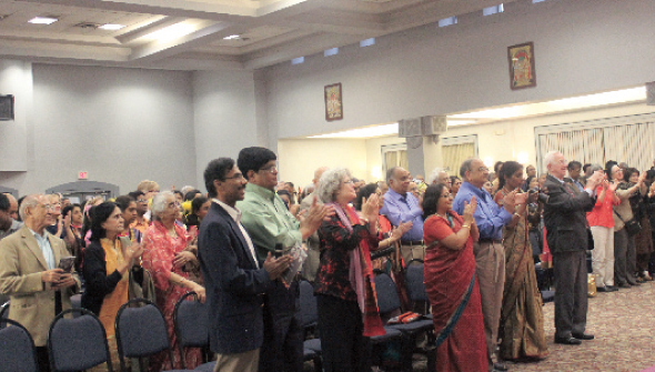 An appreciate audience of 600 gathered at Sri Meenakshi Temple Kalyana Mandapam applauded the conclusion of the HGO's premiere of River of Lights.