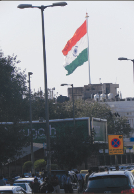 The Indian flag hoisted on the new flagpole in Connaught Place