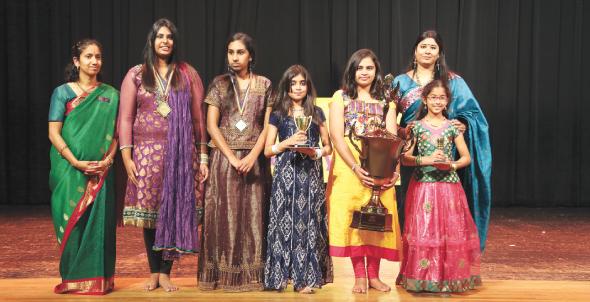 From right, Geetha Ravula, Srinidhi Srikalyani (2nd Runner Up), Saanika Halapeti {Slokathon Winner}, Rhea Bhat(1st Runner up), Rithika Ravishankar (Sloka-Bet Joint Winner), Divena Donthi (Sloka-Bet Joint Winner) and Priya Muralidharan.