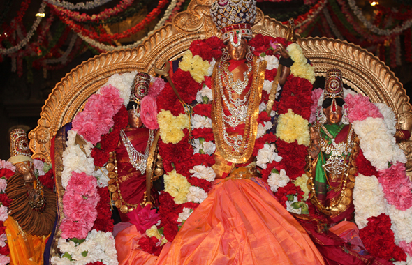 The divine couple Sita and SriRama with  Lakshmana and Anjaneya Swamy