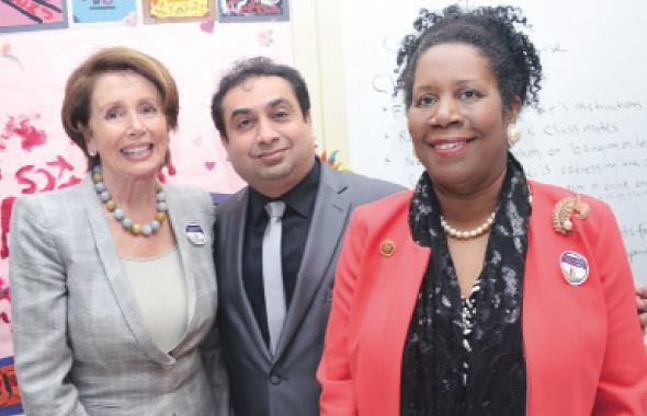 From left: Democratic Leader Nancy Pelosi, Rahman Moton, and Congresswoman Sheila Jackson Lee.