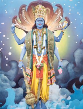 Vishnu-Garud Wahan; Paper, ink, fabric, metallic thread; Ravi Varma Press, Karla- Lonavla; Courtesy of the Ramchander Nath Foundation.