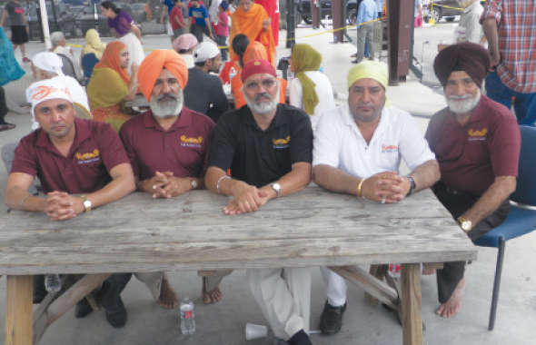 From left: Event committee members, Aman Singh Sidhu, Amar Singh, Manohar Singh Mann, Bhupinder Singh and Satwant Singh Basu at the Sikh National Center's Sports Day this past Sunday, April 13.