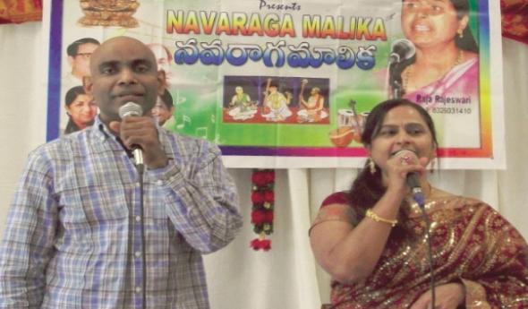 Singers of the musical night; from left: Ravi Mukkamala and Raja Rajeswari Kalaga.