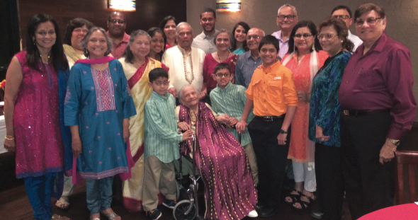 The Merchant-Vir-Kapadia-Coleman clans got together at Bhojan restaurant on Sunday, May 26, 2014 to celebrate the 100th birthday of their matriarch, Vimala Merchant and serenade her with fond remembrances and an acrobatic dance by the youngest of her great grandchildren Kabir and Rana.