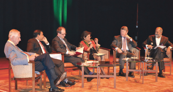 From left: Drayton McLane, former owner of the Houston Astros; Barnik Maitra, Partner in McKinsey & Company's Mumbai office; Patrick French, a British writer, historian and journalist; Vishakha Desai,Special Advisor for Global Affairs to the President of Columbia University and a Professor of Practice at its School of International and Public Affairs;Harris County Judge Ed Emmett andAdil Zainulbhai, the former chairman of McKinsey India who emceed the panel discussion onstage and edited the book.