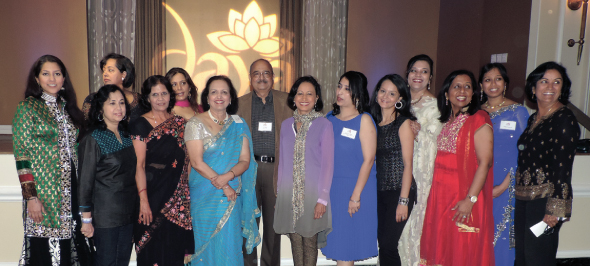 Daya board, staff members and volunteers gathered for a group photo with Gala chairs Annu Naik-Rao and Charu Verma. Dance instructor Anjali Thakkar (far right) led gala enthusiasts, such as advisory board member Sheela Rao (far left)