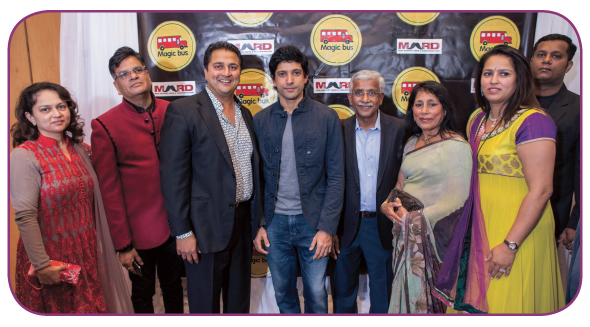 Farhan Akhtar with Magic Bus Board Members: Mona Parikh, Jugal Malani, Amit Bhandari, Dr. Sunita Moonat, Arpita Bhandari (missing board members: Gopal Savjani, Dr. H.D. Patel. Brij Kathuria)