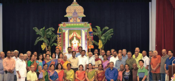 Godess Lakshmi Sannidhi display on stage with the Core donors gathered for the launch of MTRP project.
