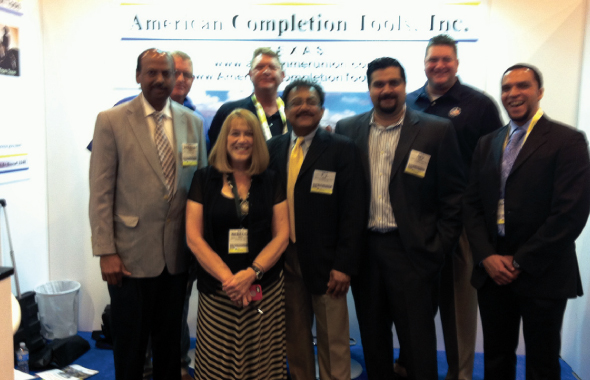 Parveen Kumar (left) CEO of Parveen Industries joins Rebecca Sinha, Business Development Manager; TJ Sinha, Vice President; and Dev Sinha, Sales Manager; with American Completion Tools.