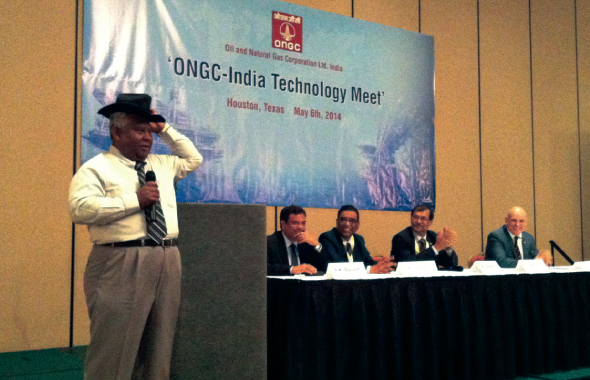 Arun Karle of Askara International welcomed guests to the ONGC-Indian Technology Meet with a display of a variety of headgear, including the 10-gallon Texas hat, a Gandhi topi and an oilfield helmet.