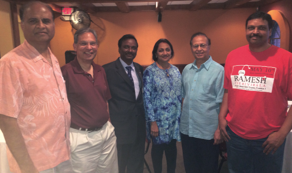 Ramesh Cherivirala, who is seeking his first elected post by running for the Fort Bend ISD Trustee Position 1, with supporters at the meeting he held on Saturday, April 27 at Udipi Café in Sugar Land,. From left, Naren Patel, Sugar Land Councilman Harish Jajoo, Cherivirala, Dinesh Shah and a supporter and volunteer