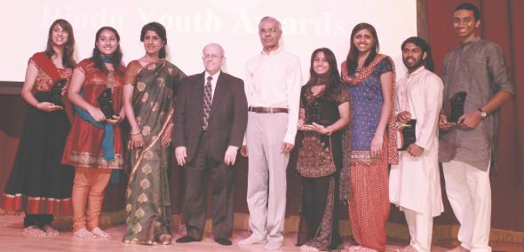 From left: Nupur Shah ,Suriya Sharma , Dr. Lata Ramchand, Elliot Gershenson, Ramesh Bhutada , Hejal Soni, Kavia Gupta, Shivang Shah and Advaith Ram