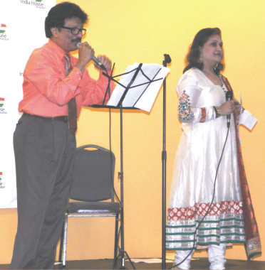 Rajan Radhakrishnan and Alpa Shah sang for the seniors on Saturday, May 10.
