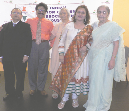 After the songs, on stage (from left) ISCA President Arvind Patel, Rajan Radhakrishnan, Sudha Trivedi, Alpa Shah and Neeta Mehta.