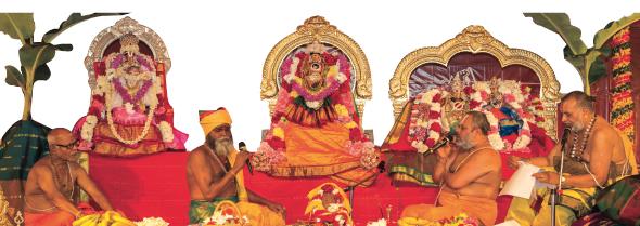 The Priests at Sri MTS conducting the celestial wedding ceremony of Meenakshi Sundareswarar Thirukalyanam