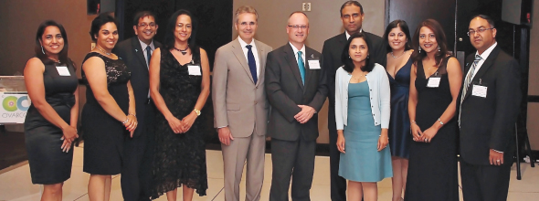 The Ovarcome Board with chief guests (from left) Chief Events Officer Bhavana Bajaj; Gala Committee Member Joya Shukla; Advisory Board Member Dr. Anirban Maitra; Gala Committee Member Karen Francis; Keynote Speaker MDA President Dr. Ronald DePinho; Special Guest St. Luke's Sugar Land CEO Robert Heifner; Advisory Board Member Dr. Anil Sood; Ovarcome Board Vice President Dr. Priya Bhosale; Secretary and Chief Medical Counsel Dr. Alpa Nick; Founder & President Runsi Sen and Chief Financial Officer, Supryo Sen.   Photo: Rguetta Photography