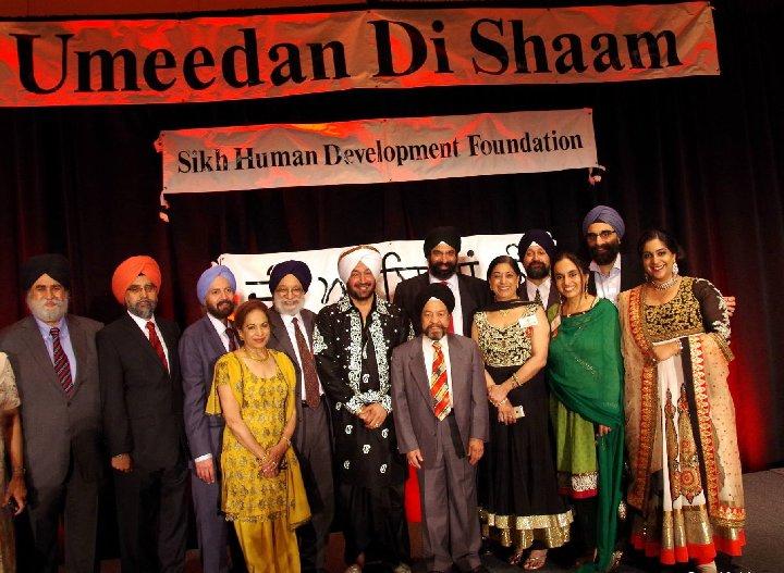 SHDF officials with guests (l-r): Satinder Singh Chadha, Dr. Rajwant Singh, Dr. Manmohan Singh, Gajinder Singh Ahuja, Kamaljit Kaur Kanwal, Malkiat Singh, Dr. Gurcharan Singh Kanwal, Surender Singh Kandhari, Kawal Kaur Singh, Manpreet Singh, Jaspreet Kaur Ahuja, Abinash Singh and Reena Nagra (Brar).