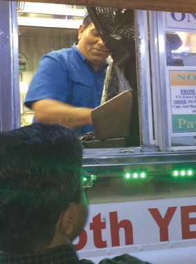Jay Kapadia served the crowd with a smile and knew many of the regulars.