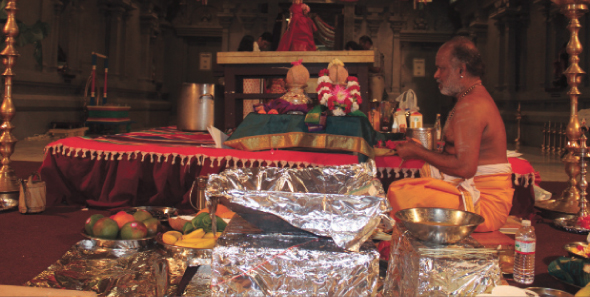 Raja Mathangi Homam for Sri Meenakshi at MTS was led by Priest Sri Mannicka Sundara Bhatter.