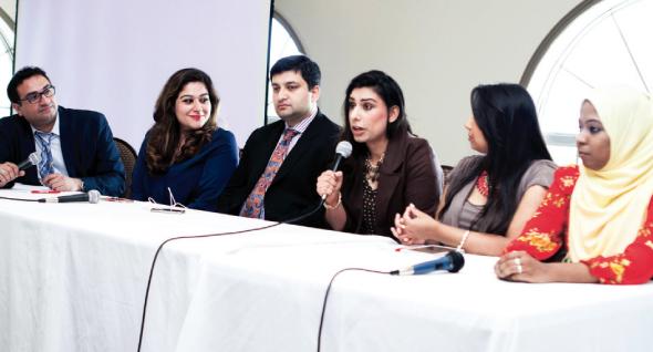 """Tricks of the Trade"" Panelists (from left): Jitin Hingorani - JINGO Media; Reema Rasool - SAY WE Founder; Abbas Hahsmi - Green Card Capital Founder; Sarah Ali - Chamak; Zeb Mamsa - Bibi Magazine; Atiya Hasan - Brown Girl Magazine Editor-in-Chief."