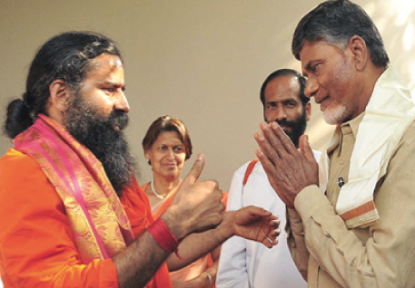 Swami Ramdev and Chandrababu Naidu in Hyderabad