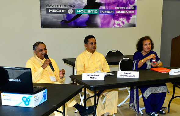 From left: Holistic Inner Science practitioners Dr. Shailesh Mehta, Deepakanandji Mistry, and Dr. Saroj Bahl.