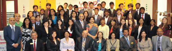 The 2014 YLDP Graduates at the ceremony held in India House, with the Youth Leadership Development Program Board of Directors (seated), the Shell Oil guests and speakers with the Indian Consul General Partvathaneni Harish and his wife Nandita (center, second row).             Photo: Sarvesh Bhavaraju