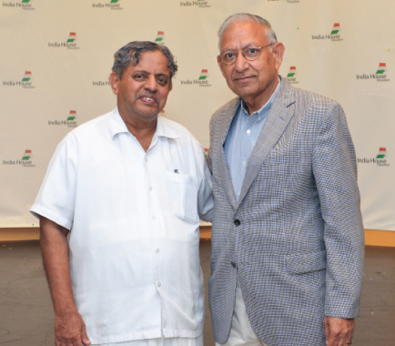 Dr. H.R. Nagendra with India House Trustee, Dr. Durga Agrawal.