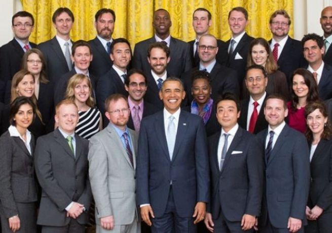 President Obama with the PECASE winners.