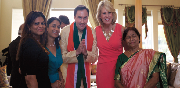 Congressman Pete Olson came to the private fundraiser in the evening in a sherwani, and a scarf with the Indian flag tricolors.