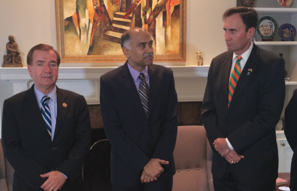 Indian Consul General Parvathaneni Harish (center) held a breakfast meeting with Congressmen Ed Royce (left) and Pete Olson on Sunday morning, July 20.