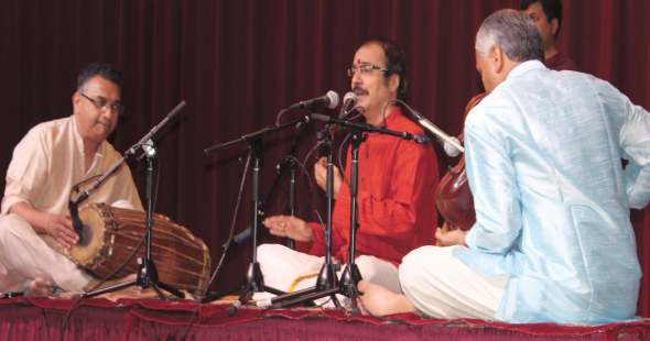 From left: Shankar Ayyar (Mridangam), Sankaran Namboothiri (Vocal) and Mahesh Iyar (Violin) performing a grand Carnatic music recital.