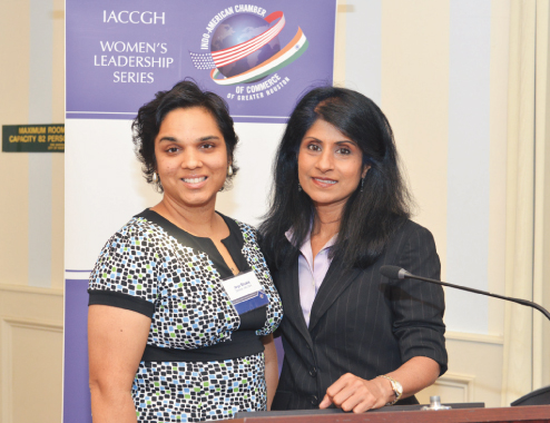 IACCGH Board Member Joya Shukla (left) chaired the event, with Dean Ramchand.