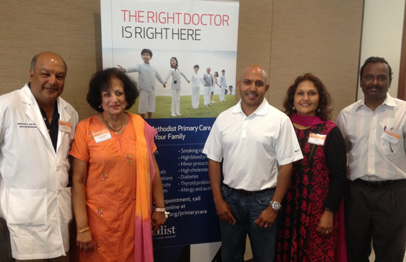 The IACF Board members at the Desi Grandparents Day at India House. From left, Dr. Mahendra Jain, Kamala Raghvan, Dr. Ajay Jain, Alpa Shah and Ramesh Cheriviralal.