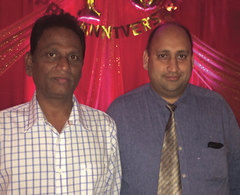 Mayuri owner Dayaker Reddy (left) with General Manager Charanjit Singh at the party last Sunday, July 20
