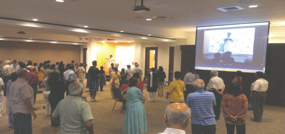 Attendees participating during the Yoga session at India House on Tuesday, July 22.Photo: Vanshika Vipin