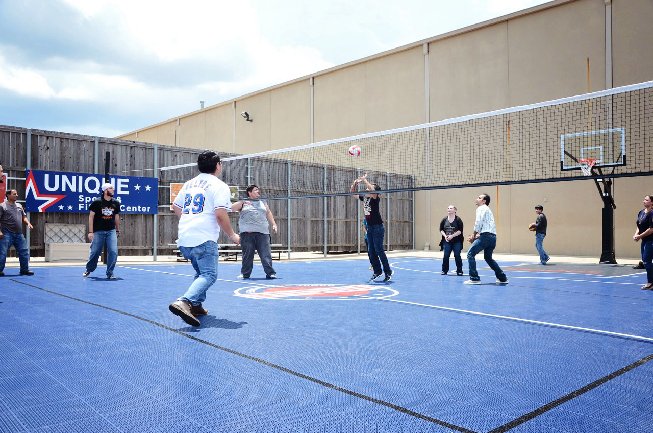 The outdoor court can easily be converted to play volleyball too